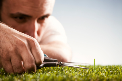 Perfectionist man cutting lawn with scissors