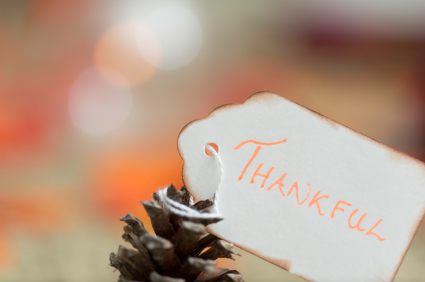 "Close up of pinecone with tag that has the word ""THANKFUL"" tied with a string."