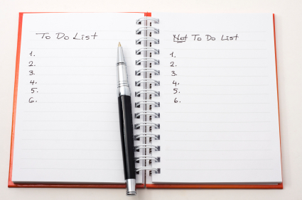 Blank lists of the things to do and the things NOT to do
