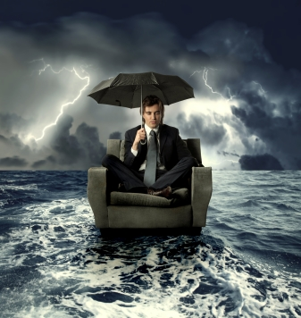 Man on stormy sea